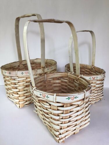 VTG Lot 3 Painted Woven Straw Wicker EASTER BASKETS Bunny Rustic Shabby Chic (3)