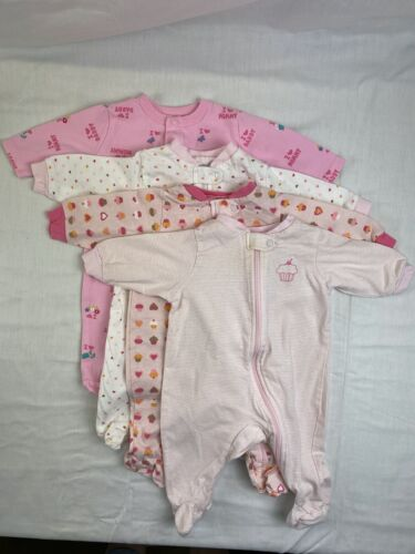 Baby Girl Sleepers 0-3 months Lot of 4 Circo