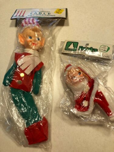 "Vintage NIP An 10 "" Elf and a Felt Santa 5"""