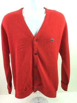 Lacoste Izod Cardigan Sweater Red Vintage Grandpa Button Up Hipster Small D21