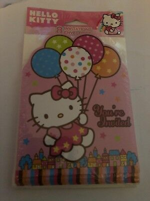 Hello Kitty You're Invited Invitations Cards NEW Package of 8 (Hello Kitty Invitations)