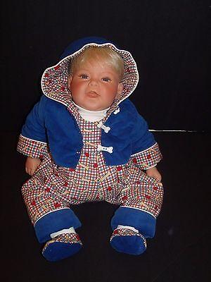 "Lee Middleton Original Doll Baby Boy Reva 1998 Blonde Hair Blue Eyes 20"""