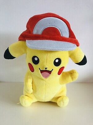 Pikachu Pokemon Tomy with Ash Cap Hat plush soft toy Figure Nintendo Rare