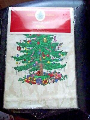 Spode Christmas Tree Fabric Tablecloth 60 x 84  Seats 6-8 Holiday