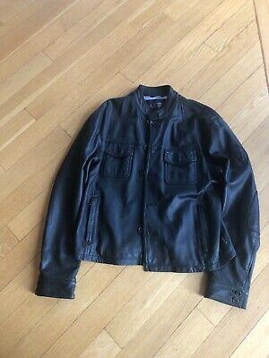 $1200 Armani Black Leather Jacket Sz 56 US XL L