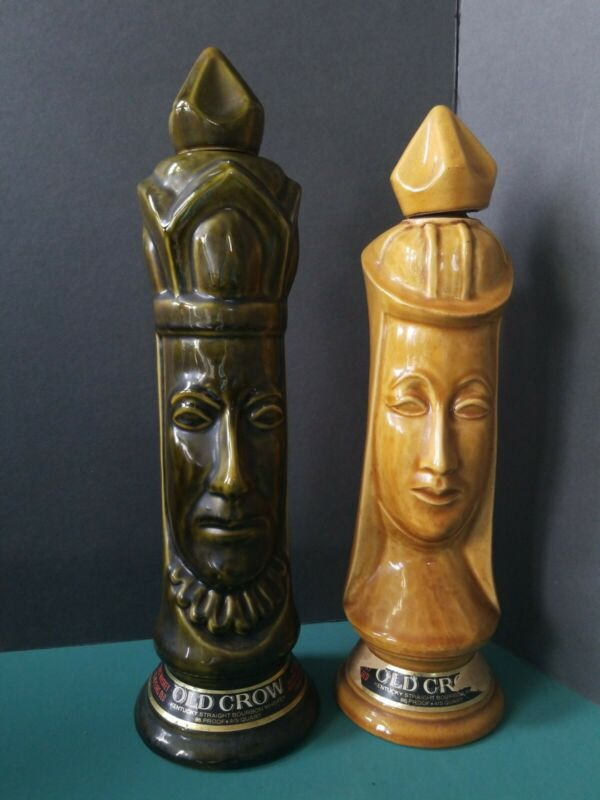 LOT 2 1969 CHESS PIECE OLD CROW BOURBON DARK KING LIGHT QUEEN CHESSMEN DECANTER