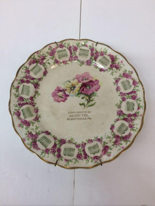 Vintage 1910 Advertising Calendar Plate Carnation McNicol