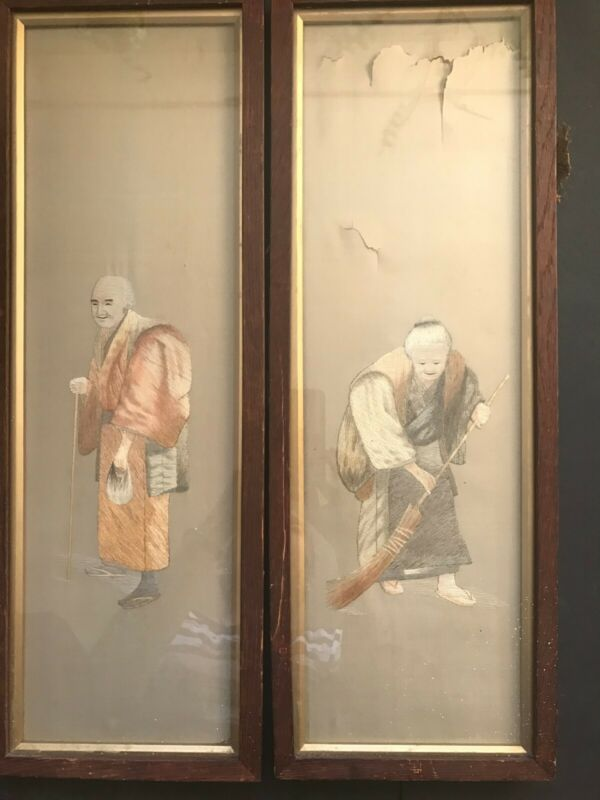 Pair Antique Japanese Silk Embroideries