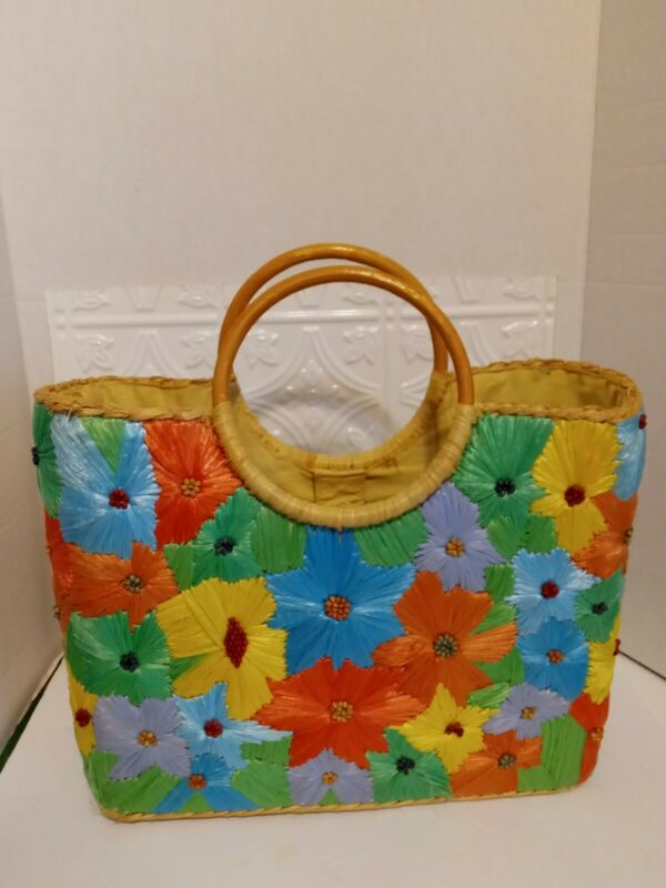 Vintage Hand Bag Tote Woven Straw Floral Design ~14 x 11.5 Inches Colorful