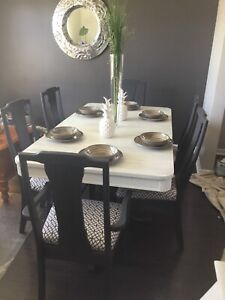 Large dining room set redone dark gray/white. 1 leaf/6 chairs.