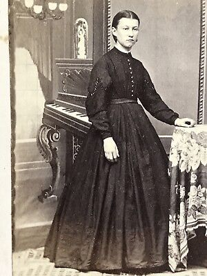 4 CDV PHOTOS Ladies In 1860s Fashion Dress HOOP SKIRTS Fake Piano Backdrop