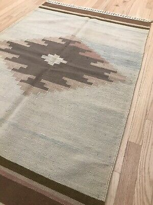 Vintage Tribal Veg dye Hand-Made Kilim Area Rug 3.2x4.10—Navajo Design