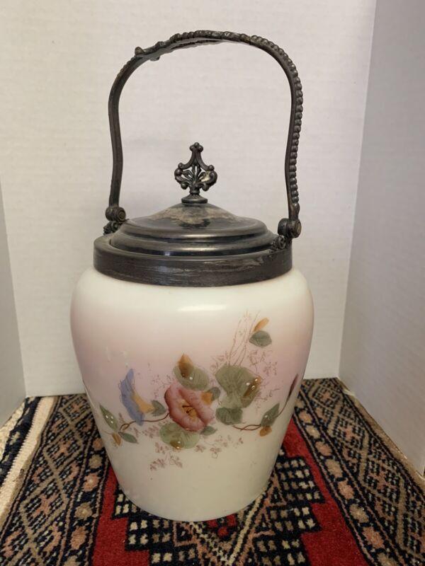 Antique Biscuit Barrel Jar Hand-Painted Floral Custard Glass