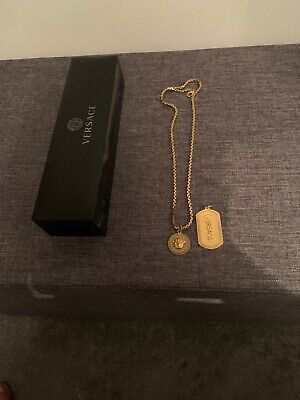Mens Gold Plated Versace Medusa/ Dog Tag Chain