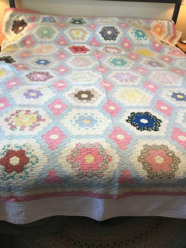 Vintage 1920s Multi Color Hexagon Flower Design Quilt 98 x 90