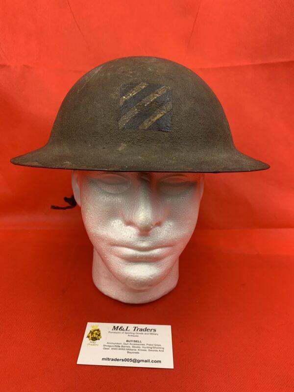 Original WWI US Doughboy KIA Helmet Battle Damage Painted Brodie 3rd Division