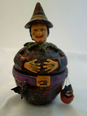BETHANY LOWE WITCH HALLOWEEN LIDDED CANDY CONTAINER - DANGLING BAT & BLACK CAT