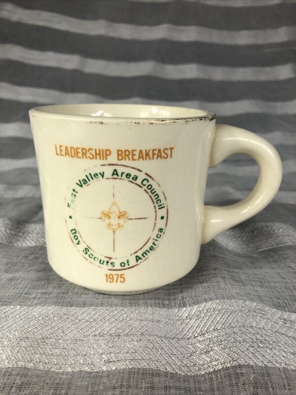 Vintage Boy Scouts Of America Coffee Mug 1975 Fast Valley Area Council BSA Clean