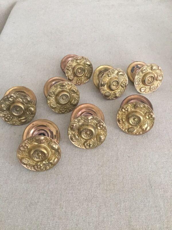 Set 8 Vintage Sheraton Brass Knobs