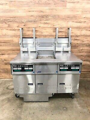 2007 Pitco Sg14-js Dual Fryer System Dump Station Filtration 220000 Btu Total