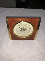Bulova World Map Mantle/Table Top Clock Brass And Wood