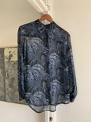 House Of Hackney Palmeral Sheer Silk Blue Black Palm Printed Shirt Blouse Size 8