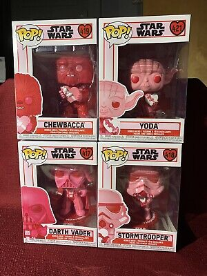 FUNKO Pop STAR WARS VALENTINE'S DAY (Set Of 4) VADER STORMTROOPER CHEWY YODA New