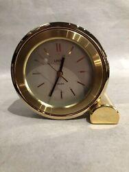 Linden Vintage Quartz 4 Round Brass Shelf - Desk Clock AA Battery