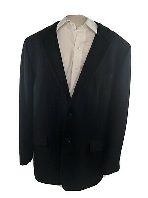 Tasso Elba 100% Cashmere Two Button Sport Coat/Jacket Size 44R Black Single Vent Tasso Elba Mens Single