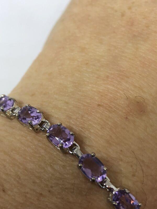 Vintage Amethyst Bracelet Deco 925 Sterling Silver Genuine Stones Purple