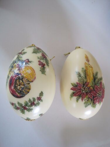 """Genuine Goose Egg Ornament Set of 2 Measures 4"""" Hand Painted Robben"""