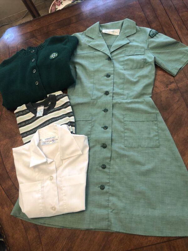 VTG 60's GIRL SCOUTS Uniform Green Acrylic Sweater Jumper Skirt, Blouse Sz 14