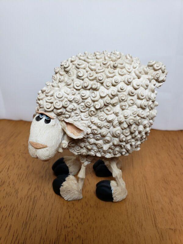 "RUSS Bobble Bods RAMSEY the Sheep Jiggling 4"" Figurine Signed By Doug Harris"