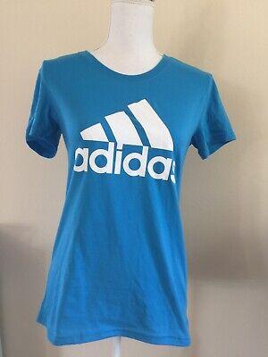 Adidas Mujer Azul Cielo Algodón Logo Gráfico Camiseta Nwt SZ XS