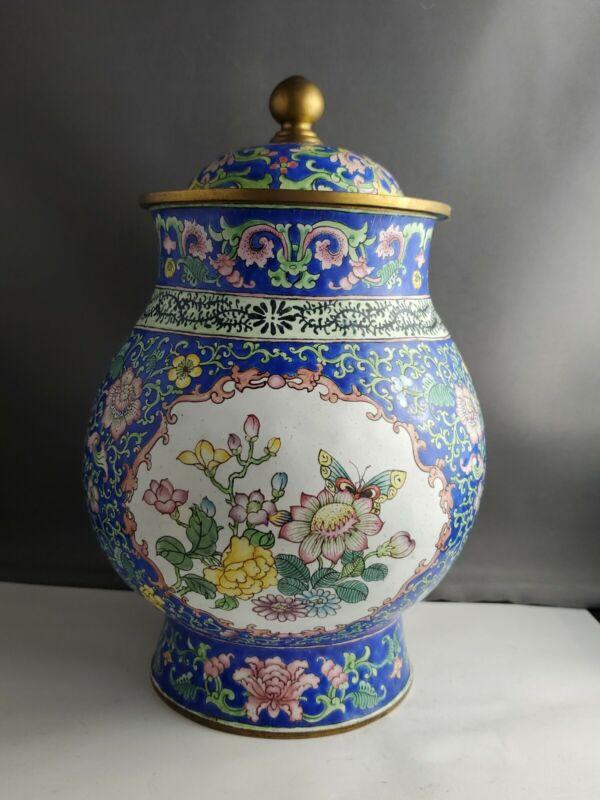 Chinese Vintage Enamel Hand Painted Jar With Lid