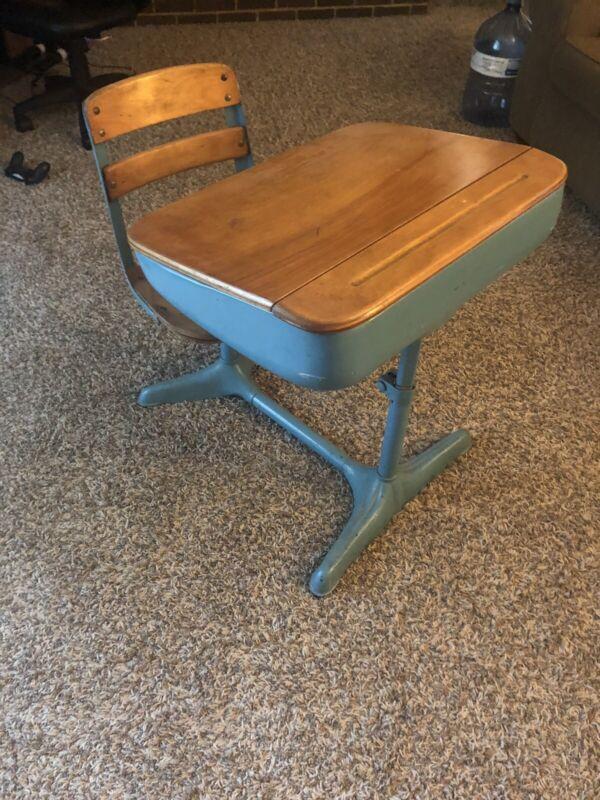Vintage school desk/chair combo (hardware dated 1937)