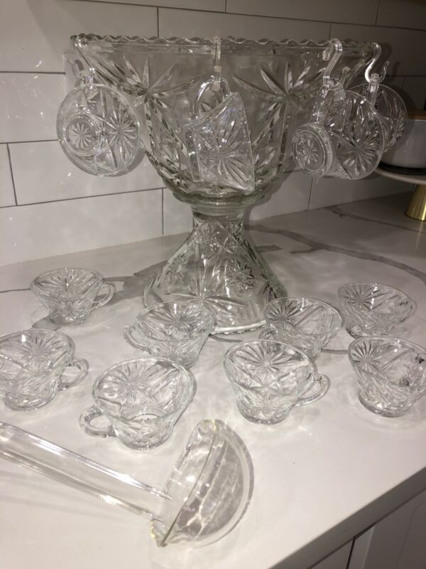 vintage early american prescut Punch bowl With Stand, Cups, Ladle