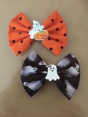 Beautiful~Set of 2~Halloween~Ghost~Orange~Black~Fabric~Toddlers~Girls~Hair -
