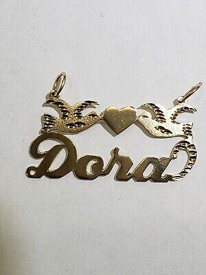 14k Yellow Gold Dora - 14k Yellow Gold Name Dora With Birds and heart Design Charm Pendant