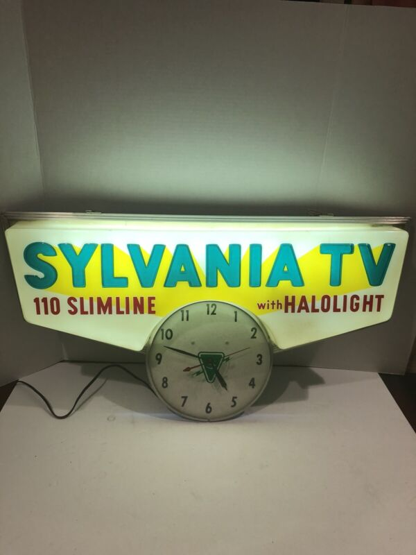RARE Vintage SYLVANIA TV Lighted Clock/Sign by TEL-A-SIGN     AWESOME CONDITION