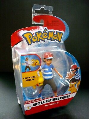 "Pokemon Battle Feature Figure 4"" Action Figure ASH PIKACHU Nintendo 2108 New."