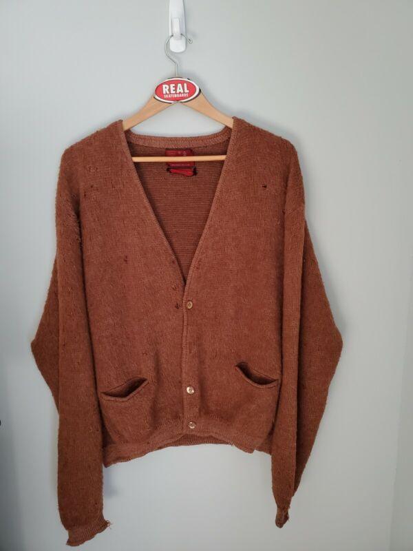 Vintage Sears Mohair Cardigan Cobain Sweater Fuzzy Brown Men
