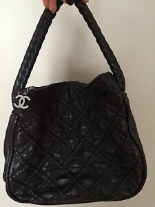 Authentic black leather Chanel purse