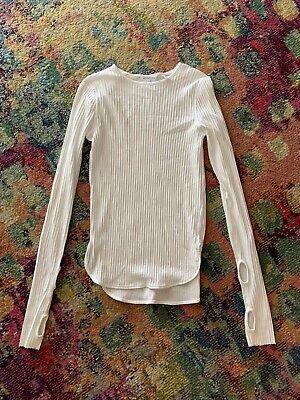 Helmut Lang Thumbhole Cuff Rib Knit Top White Size Medium