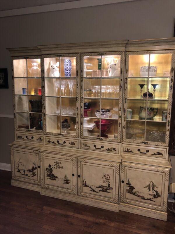 Palatial Chinoiserie  Lacquered Illuminated Breakfront By Union National