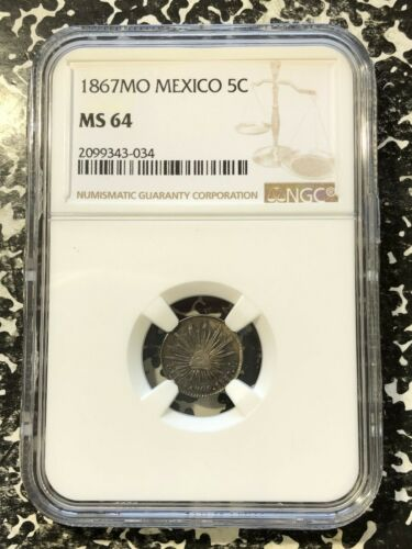 1867-Mo Mexico 5 Centavos NGC MS64 Lot#G961 Silver! Nice UNC!