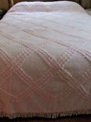 "Vintage Chenille Pink Plush Bedspread w Fringe 97"" x 110"""