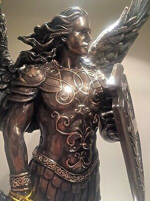 Archangel St. Michael Bronze color Statue Male warrior Shield Sword NEW $195 - Male Warrior