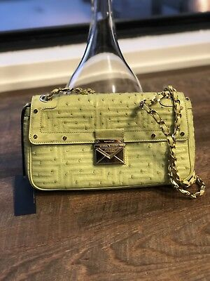 GIANNI VERSACE COUTURE Mint Green ostrich gold studded shoulder leather Bag