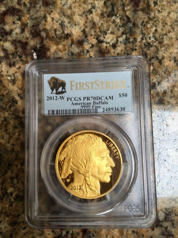2012 W $50 PROOF 1 OZ GOLD BUFFALO PCGS PR70 FIRST STRIKE Buffalo Black Diamond
